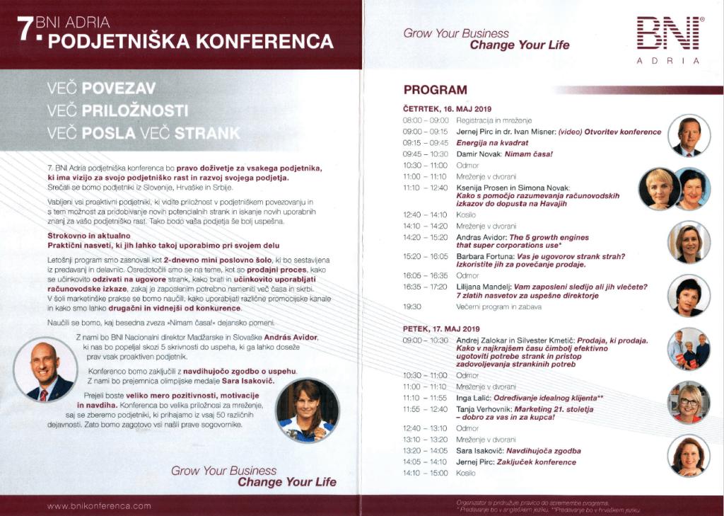 Predavanje na BNI podjetniški konferenci 2019